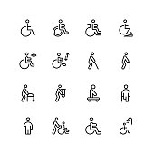Disabled icon set. Collection of high quality black outline logo for web site design and mobile apps. Vector illustration on a white background.