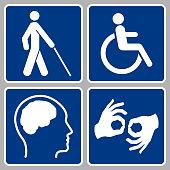 disability symbols icon set