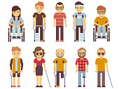 Disabled people vector set. old and young invalid persons isolated on white background. Person character invalid in wheelchair illustration