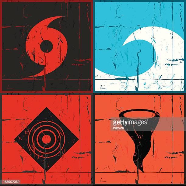 Disaster grunge icons