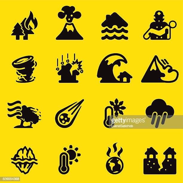 Desastre amarillo Silueta de iconos/EPS10