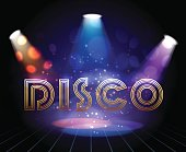 Vector disco background with spotlights for dance show invitation or party flyer template