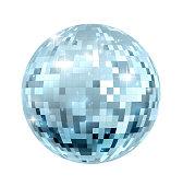 A glitter disco mirror ball nightclub decoration
