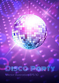 Disco ball on disco lights background. Vector illustration.