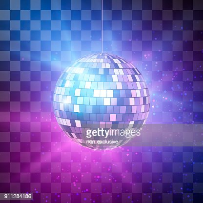 Disco ball with bright rays on transparent background, night party retro background. Vector illustration : stock vector