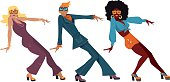 Three people dressed in 1970s fashion dancing a novelty dance, EPS 8 vector illustration, no transparences