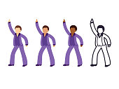 Disco dancing man emoji set with different skin tone color and black and white line icon. Isolated vector illustration collection.