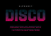 Disco dotted halftoned display font design, alphabet, typeface, letters and numbers, typography. Swatch color control.