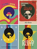 Disco party event flyers set. Collection of the creative vintage posters. Vector retro style template. Black woman in sunglasses.