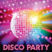Disco lights and shiny disco ball. Vector illustration