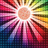 Discoball with funky rainbow background, EPS10 vector with layer transparency effects and linear gradients