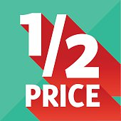 Flat design sale discount one half price abstract background with long transparent shadow, 10 EPS.