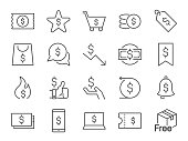 Discount icon set. Included icons as sale, promotion, badge, coupon, cash back and more.