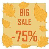 illustration discount image surrounded by autumn leaves on a light brown background