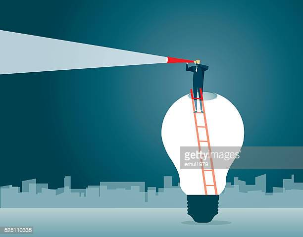 Discovery,Direction, Looking, Strategy,Solution, Light Bulb, Symbolize, Leadership