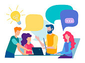 Discussion and communication in the office, teamwork, brainstorming. Vector illustration.