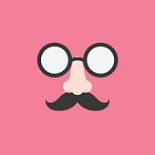 disguise glasses, nose and mustache for party, flat design icon