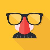 Disguise mask. Mask with glasses fake nose and mustache. Vector illustration