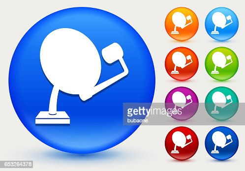 Dish Icon on Shiny Color Circle Buttons : Vector Art