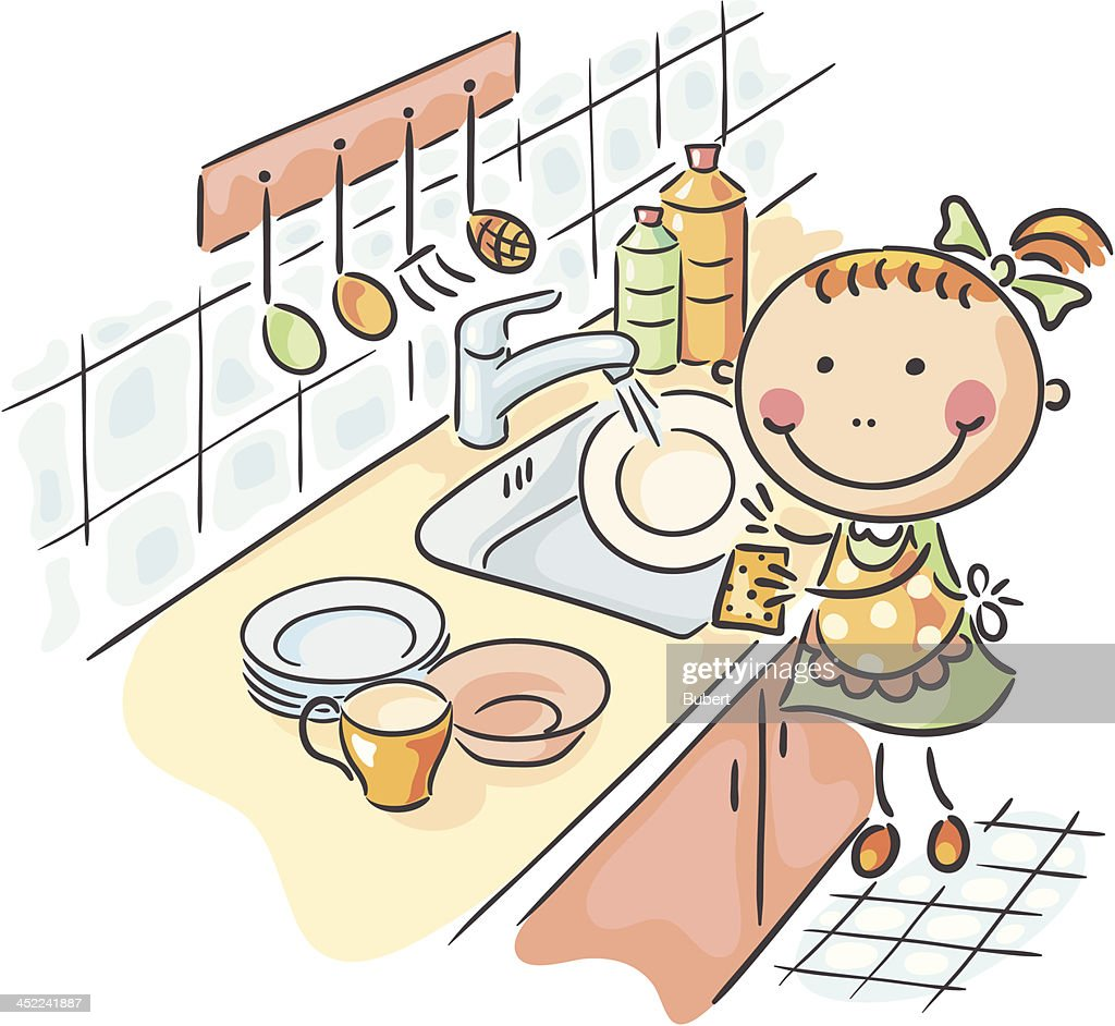 Best Washing Dishes Illustrations Royalty Free Vector: Dish Washing Vector Art