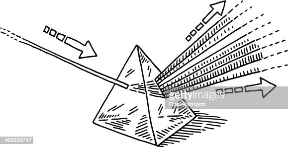 dispersive prism light refraction drawing vector art