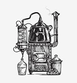 Distillation apparatus sketch. Retro hooch vector illustration