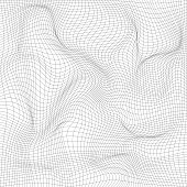 Distorted wave monochrome texture. Abstract dynamical rippled surface. Vector stripe  deformation background. Mesh, grid pattern of lines. Black and white illustration.