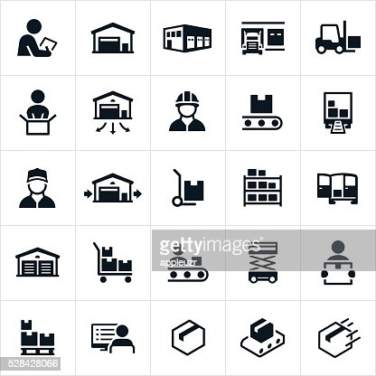 distribution warehouse icons vector art getty images