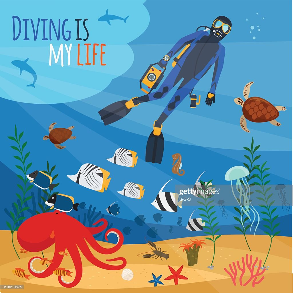 Diver underwater illustration : Vector Art