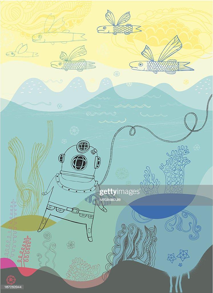 Diver : Vector Art