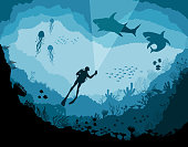 Divers and sharks, reef Underwater wildlife, jellyfish, fish on a blue sea background.