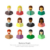 Ethnically diverse business people in colorful flat design. Isolated icon set on white background.