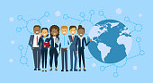 Diverse Group Of Businesspeople Over World Map Globe International Business People Team Concept Flat Vector Illustration