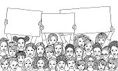 Hand drawn illustration of a diverse group of women, holding empty signs with space for custom text