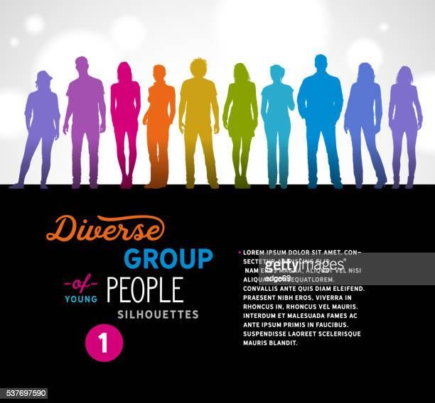 Vielfältige eine Gruppe von junge Leute Silhouetten
