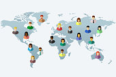 Diverse people in flat design and world map concept