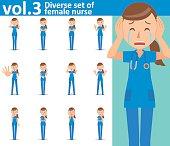 Diverse set of female nurse on white background , vector format vol.3