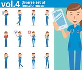 Diverse set of female nurse on white background , vector format vol.4