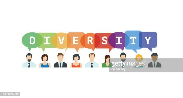 Diversity Concept. People icons with speech bubbles