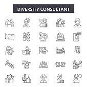 Diversity consultant line icons, signs set, vector. Diversity consultant outline concept illustration: concept,diversity,team,man,business,person,people