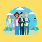 diversity man and woman characters cityscape park background vector illustration