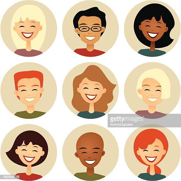 Vielfalt: Neun lächelnde Gesichter in Cirles: Retro-Stil