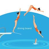 Diving board and female swimmer in red swimsuit that dives in from it in deep pool cartoon flat vector illustration. Sportswoman performs jump in water.
