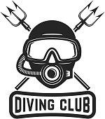 Diving club. Diver mask with crossed tridents. Design element for  label, sign. Vector illustration