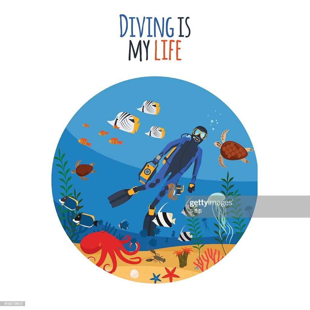 Diving is my life illustration : Vektorgrafik