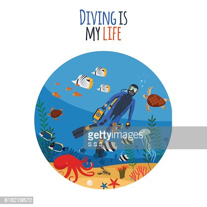 Diving is my life illustration : Clipart vectoriel