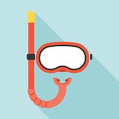 Diving mask and Snorkel icon, flat design