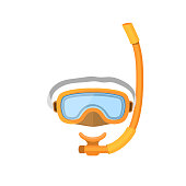 Diving mask isolated on white background. Rubber snorkel water scuba leisure. Underwater beach plastic goggles. Swimming glasses snorkeling design protection.