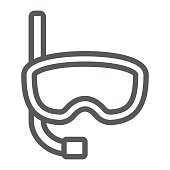 Diving mask line icon, diving and underwater, snorkel sign vector graphics, a linear pattern on a white background, eps 10.