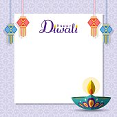 Diwali message notes or copy space with diya (india oil lamp) and lantern. Festival of Lights celebration vector illustration.